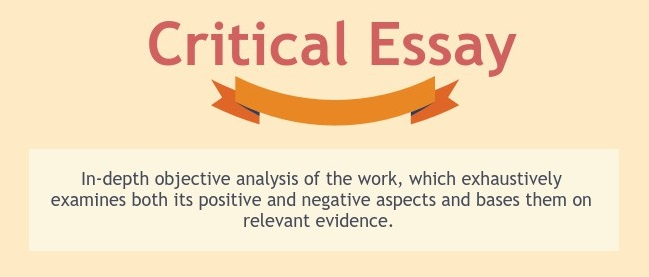 The critical essay is an in-depth objective analysis of the work which exhaustively examines both its positive and negative aspects and bases them on relevant evidence.